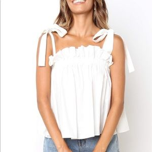 Petal and Pup White Flounce Tie Tank Top